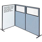 """Interion® 3-Panel Corner Room Divider with Whiteboard & Partial Window, 36-1/4""""W x 60""""H, Blue"""