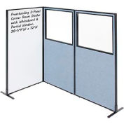 """Interion® 3-Panel Corner Room Divider with Whiteboard & Partial Window, 36-1/4""""W x 72""""H, Blue"""