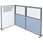"""Interion® 3-Panel Corner Room Divider with Whiteboard & Partial Window, 48-1/4""""W x 72""""H, Blue"""