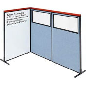 Interion® Deluxe Freestanding 3-Panel Corner w/Whiteboard & Partial Window 36-1/4Wx61-1/2H Blue