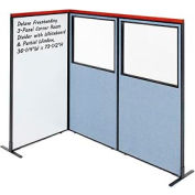 Interion® Deluxe Freestanding 3-Panel Corner w/Whiteboard & Partial Window 36-1/4Wx73-1/2H Blue