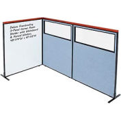 Interion® Deluxe Freestanding 3-Panel Corner w/Whiteboard & Partial Window 48-1/4Wx61-1/2H Blue