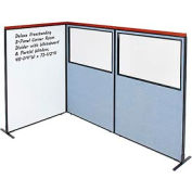 Interion® Deluxe Freestanding 3-Panel Corner w/Whiteboard & Partial Window 48-1/4Wx73-1/2H Blue