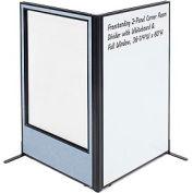 "Freestanding 2-Panel Corner Room Divider with Whiteboard & Full Window, 36-1/4""W x 60""H, Blue"