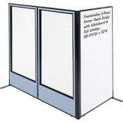 "Freestanding 3-Panel Corner Room Divider with Whiteboard & Full Window, 36-1/4""W x 72""H, Blue"