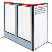"Deluxe Freestanding 3-Panel Corner Room Divider w/ Whiteboard & Full Window 36-1/4""W x 73-1/2""H Blue"