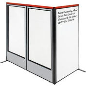 "Deluxe Freestanding 3-Panel Corner Room Divider w/ Whiteboard & Full Window 36-1/4""W x 73-1/2""H Gray"