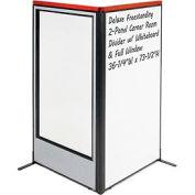 "Deluxe Freestanding 2-Panel Corner Room Divider w/ Whiteboard & Full Window 36-1/4""W x 73-1/2""H Gray"