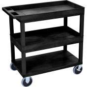 Luxor® EC112HD-B Black 2-Tub 1-Flat Shelf Cart 35-1/4 x 18 500 Lb. Cap.