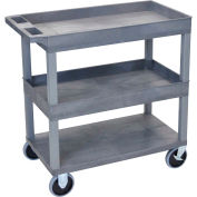 Luxor® EC112HD-G Gray 2-Tub 1-Flat Shelf Cart 35-1/4 x 18 500 Lb. Cap.