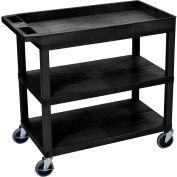 Luxor® EC122-B Black 2-Flat 1-Tub Shelf Cart 35-1/4 x 18 400 Lb. Cap.