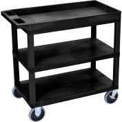 Luxor® EC122HD-B Black 2-Flat 1-Tub Shelf Cart 35-1/4 x 18 500 Lb. Cap.
