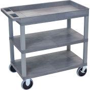 Luxor® EC122HD-G Gray 2-Flat 1-Tub Shelf Cart 35-1/4 x 18 500 Lb. Cap.
