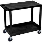 Luxor® EC21-B Black 1-Tub 1-Flat Shelf Cart 35-1/4 x 18 400 Lb. Cap.