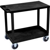 Luxor® EC21HD-B Black 1-Tub 1-Flat Shelf Cart 35-1/4 x 18 500 Lb. Cap.