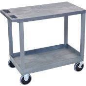 Luxor® EC21HD-G Gray 1-Tub 1-Flat Shelf Cart 35-1/4 x 18 500 Lb. Cap.