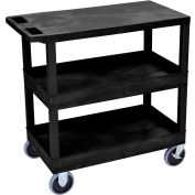 Luxor® EC211HD-B Black 2-Tub 1-Flat Shelf Cart 35-1/4 x 18 500 Lb. Cap.