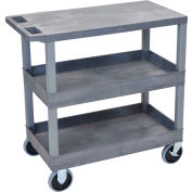 Luxor® EC211HD-G Gray 2-Tub 1-Flat Shelf Cart 35-1/4 x 18 500 Lb. Cap.