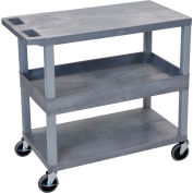 Luxor® EC212-G Gray 2-Flat 1-Tub Shelf Cart 35-1/4 x 18 400 Lb. Cap.