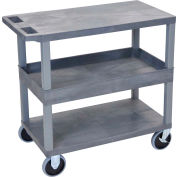 Luxor® EC212HD-G Gray 2-Flat 1-Tub Shelf Cart 35-1/4 x 18 500 Lb. Cap.