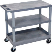 Luxor® EC221-G Gray 2-Flat 1-Tub Shelf Cart 35-1/4 x 18 400 Lb. Cap.