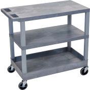 Luxor® EC221-G Gray 2-Flat 1-Tub Shelf Cart 35-1/4 x 18 400 Lb. Cap.