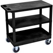 Luxor® EC221HD-B Black 2-Flat 1-Tub Shelf Cart 35-1/4 x 18 500 Lb. Cap.
