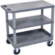 Luxor® EC221HD-G Gray 2-Flat 1-Tub Shelf Cart 35-1/4 x 18 500 Lb. Cap.