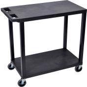 Luxor® EC22-B Black 2-Flat Shelf Cart 35-1/4 x 18 400 Lb. Cap.