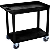 Luxor® EC12HD-B Black 1-Tub 1-Flat Shelf Cart 35-1/4 x 18 500 Lb. Cap.