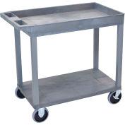 Luxor® EC12HD-G Gray 1-Tub 1-Flat Shelf Cart 35-1/4 x 18 500 Lb. Cap.