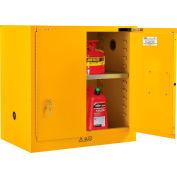 "Global Industrial™ Bench High Flammable Cabinet, 22 Gallon Self Close Door, 35""W x 22""D x 35""H"