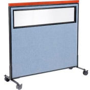 """Mobile Deluxe Office Partition Panel with Partial Window, 48-1/4""""W x 46-1/2""""H, Blue"""