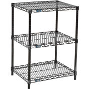 "Nexel™ 3-Shelf Black Wire Shelf Printer Stand, 24""W x 18""D x 34""H"