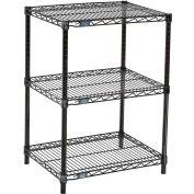 "Nexel™ 3-Shelf Black Wire Shelf Printer Stand, 24""W x 18""D x 34""H"