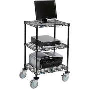 "3-Shelf Mobile Printer Stand 39""Hx18""Wx24""L, Black"