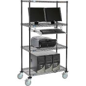 "Nexel™ 4-Shelf Mobile Wire Computer LAN Workstation w/ Keyboard Tray, 36""W x 18""D x 69""H, Black"