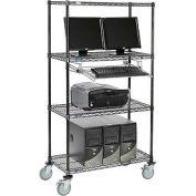 "4-Shelf Mobile Computer LANstation, Sliding Keyboard Tray, 5"" Casters 2 Locking 75""Hx18""Wx36""L Black"
