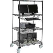 "4-Shelf Mobile Computer LANstation, Sliding Keyboard Tray, 5"" Casters 2 Locking 75""Hx24""Wx36""L Black"
