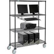 "4-Shelf Mobile Computer LANstation, Sliding Keyboard Tray, 5"" Casters 2 Locking 75""Hx18""Wx48""L Black"