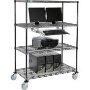 "4-Shelf Mobile Computer LANstation, Sliding Keyboard Tray, 5"" Casters 2 Locking 69""Hx24""Wx48""L Black"