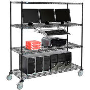 """Nexel™ 4-Shelf Mobile Wire Computer LAN Workstation w/ Keyboard Tray, 60""""W x 24""""D x 69""""H, Black"""