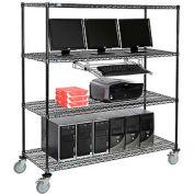 "4-Shelf Mobile Computer LANstation, Sliding Keyboard Tray, 5"" Casters 2 Locking 75""Hx24""Wx60""L Black"