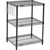 "Wire shelf Printer Stand, Document Holder 34""Hx18""Wx24""L, Black, 3-Shelf"