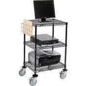 "Wire shelf Mobile Printer Stand,  Document Holder 40""Hx18""Wx24""L, Black, 3-Shelf"