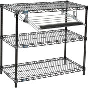 "Nexel™ 3-Shelf Black Wire Shelf Printer Stand with Keyboard Tray, 36""W x 18""D x 34""H"