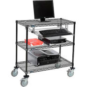 "Wire shelf Mobile Computer LANstation workstation, Keyboard Tray, 40""Hx18""Wx36""L Black, 3-Shelf"