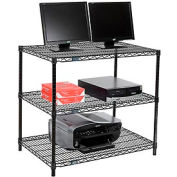 "Wire shelf Computer LANstation workstation 34""Hx24""Wx36""L, Black, 3-Shelf"