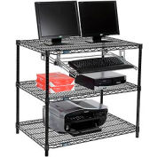 "Wire shelf Computer LANstation workstation, Keyboard Tray 34""Hx24""Wx36""L, Black, 3-Shelf"