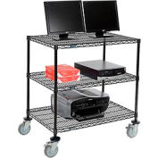 "Wire shelf Mobile Computer LANstation workstation, 40""Hx24""Wx36""L, Black, 3-Shelf"